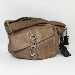 L.A.M.B. Leather Handbag Tan Distressed Hobo